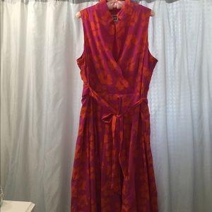 Ann Klein Sz 14 cotton floral Coral, Pink dress